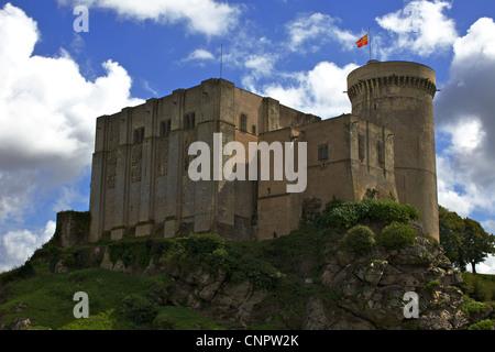 [Chateau de Falaise] castle cliff flag - Stock Photo