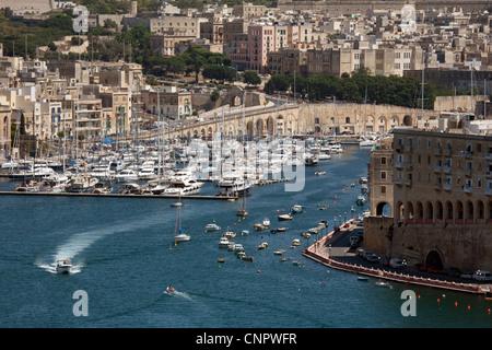 A view of the Three Cities marina from the Upper Barrakka gardens, Valletta, Malta, Europe - Stock Photo