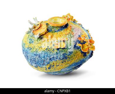 ceramic vase art design white background - Stock Photo