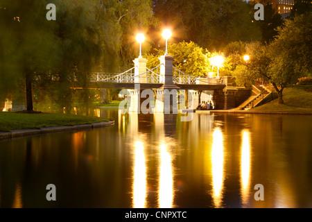 Boston Public Gardens Lagoon Bridge at Night