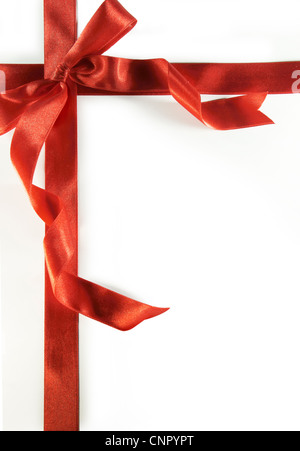 Big red bow with shadow on a white background - Stock Photo
