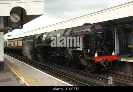 Steam Locomotive 'Britannia' heads The Cathedrals Express at Staines -1 - Stock Photo