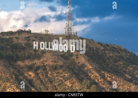 The Hollywood Sign under dark storm rain clouds. In the Hollywood Hills, Los Angeles, California CA US USA LA L.A.. - Stock Photo