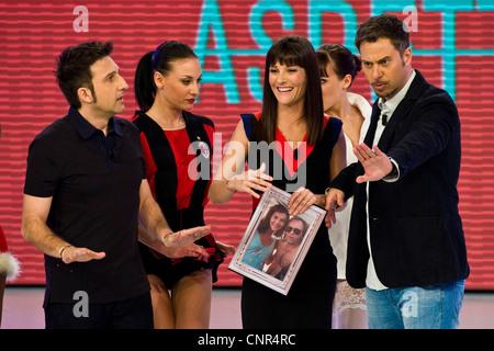 Telecast 'Quelli che il calcio'. RAI 2. Milan 2012. Victoria Cabello and Trio Medusa - Stock Photo