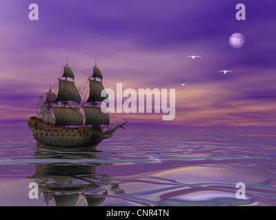 Flying Dutchman, pirate ship sailing in the moonlight next to bird in violet byckground