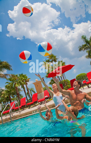 Family in Pool, PGA National Resort and Spa, Palm Beach Gardens, Florida, USA - Stock Photo