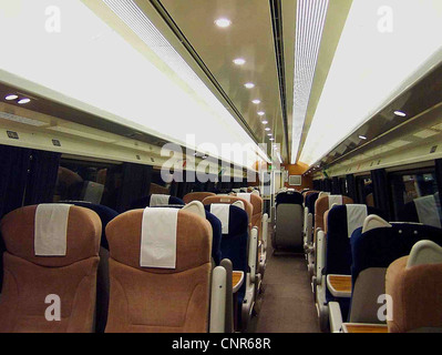 The interior of a refurbished GNER Mark IV FO vehicle. - Stock Photo