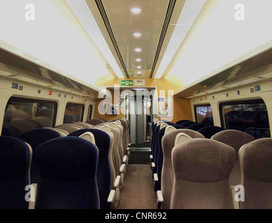 The interior of a refurbished GNER Mark IV RSM vehicle, showing the new Standard Class saloon. - Stock Photo