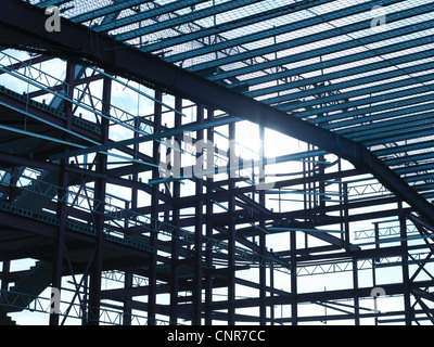 Steel frame at construction site - Stock Photo