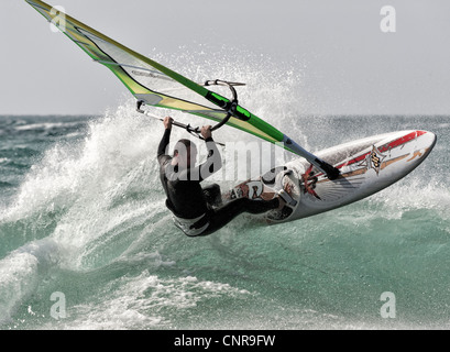 Windsurfing in Tarifa, Cadiz, Andalusia, Spain. - Stock Photo