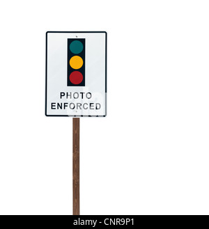 Tall isolated photo enforced signal on a wooden post. - Stock Photo