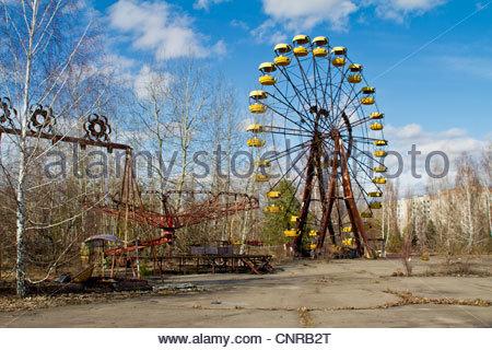 Chernobyl. Pripiat. 2012 March, Chernobyl zone. March 2012. The ferris wheel in The Pripiat city. The highest level - Stock Photo