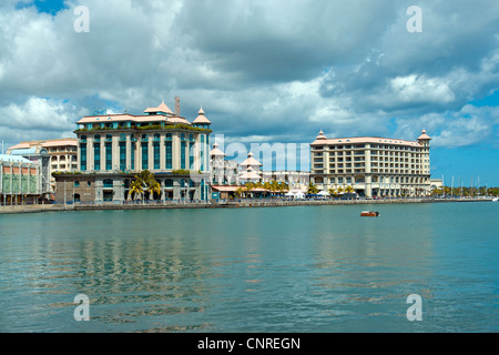 Le Caudan Waterfront shopping complex in Port Louis, Mauritius, an island in the Indian Ocean - Stock Photo