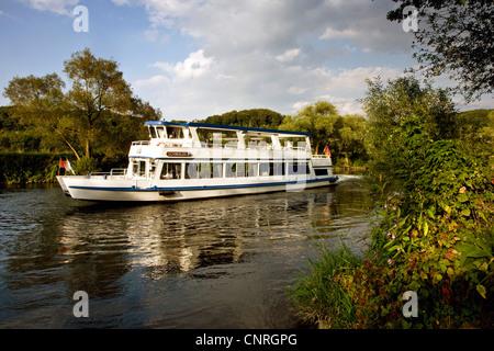 passenger ship Schwalbe II on Ruhr river, Germany, North Rhine-Westphalia, Ruhr Area, Witten - Stock Photo