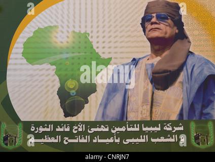 Gaddafi on poster, Tripoli , Libya - Stock Photo