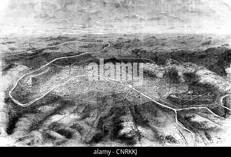 events, Franco-Prussian War 1870 - 1871, Siege of Paris, 19.9.1870 - 28.1.1871, aerial view of city and vincinty, - Stock Photo
