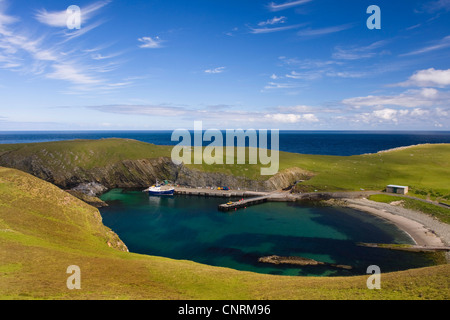 bay at the coast of Fair Isle, United Kingdom, Scotland, Shetland ...