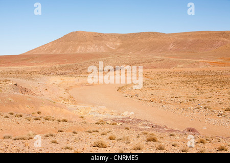 A dried up river bed in the Anti Atlas mountains of Morocco, North Africa. - Stock Photo