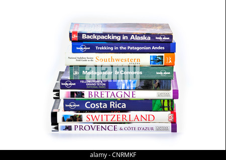 Collection showing assortment of travel guides and guidebooks about worldwide holiday destinations - Stock Photo