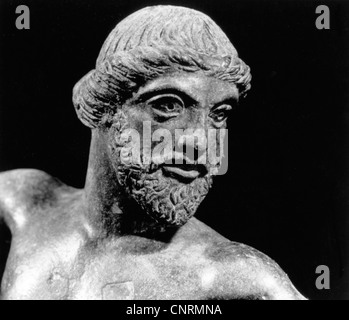 Zeus (Latin: Jupiter), Greek 'divine king', ', leader of gods, god of sky and thunder, 'Zeus of Dodona', bronze, - Stock Photo