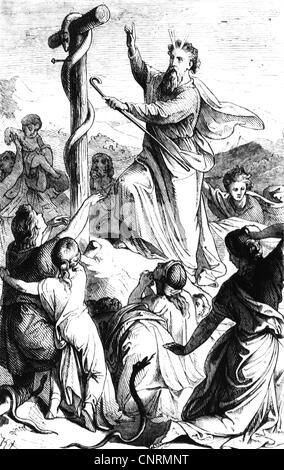 Moses, prophet, biblical character, full length, miracle of the Nehushtan, wood engraving, 19th century, Additional - Stock Photo