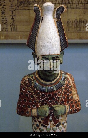 Painted wooden statuette of Osiris. 20th Dynasty. New Kingdom.  From the Tomb of Anhai, Akhmin, Egypt. - Stock Photo