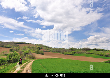 Young woman hiker with dog in countryside landscape - Stock Photo