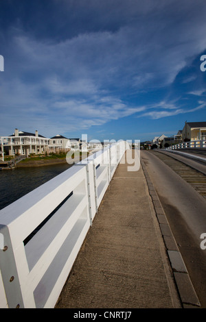 Crossing a bridge on Thesen Island, Knysna, Western Cape, South Africa - Stock Photo