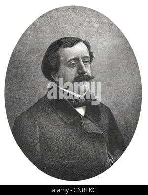 Paul de Saint-Victor or Paul Bins, Comte de Saint-Victor, 1827 - 1881, French writer, Historic steel engraving - Stock Photo