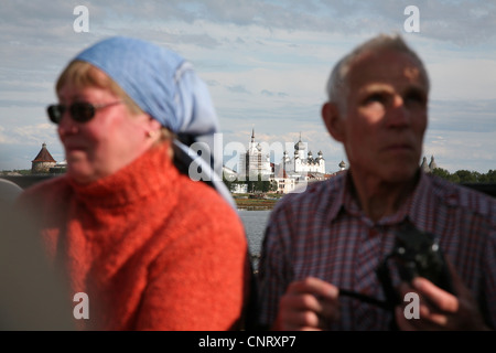 Russian pilgrims travel to the Solovetsky Monastery on the Solovetsky Islands, White Sea, Russia. - Stock Photo
