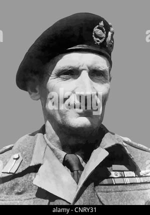 Digitally restored vector portrait of Field Marshal Bernard Law Montgomery. - Stock Photo