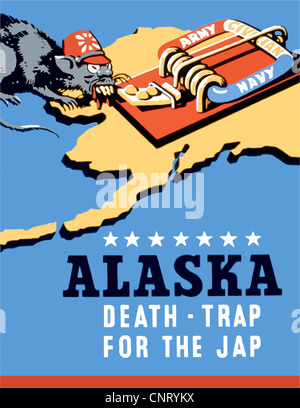 Digitally restored propaganda war poster. - Stock Photo
