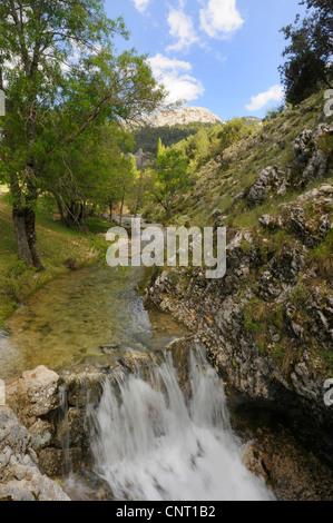 waterfall in the Sierra de Cazorla, Spain, Andalusia, Naturpark Sierra de Cazorla - Stock Photo