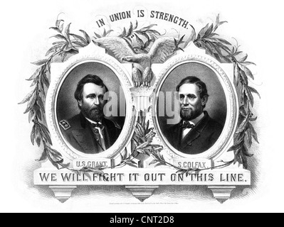 Digitally restored vintage Presidential Poster featuring Republican Party nominees Ulysses S. Grant and Schuyler Colfax. Stock Photo