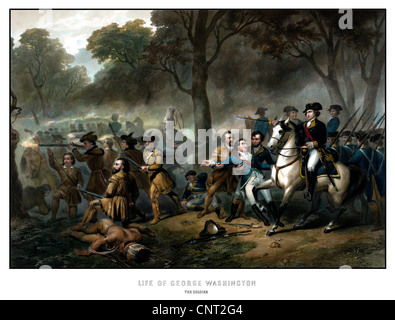 Digitally restored vintage print showing George Washington on horseback, leading troops at the Battle of the Monongahela. - Stock Photo