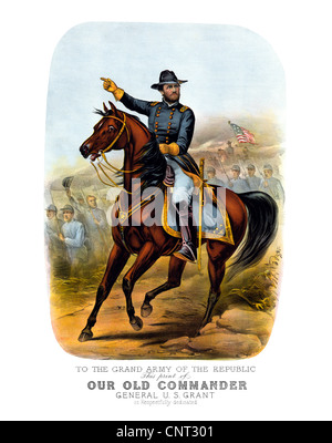 Vintage Civil War poster of General Ulysses S. Grant, on horseback, leading Union troops into battle. Stock Photo