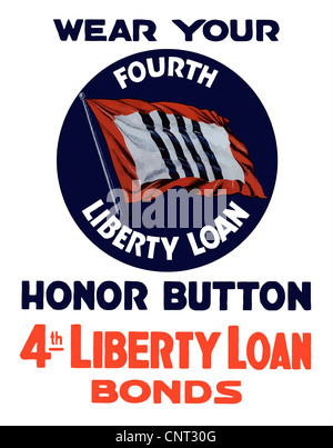 Vintage World War II poster of a 4th Liberty Loan Honor Button. - Stock Photo