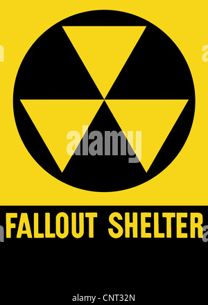 Cold War era fallout shelter sign. - Stock Photo