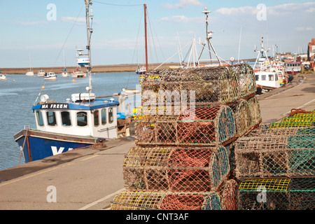Fishing Boats, Port, lobster cages, fishing, sea, - Stock Photo
