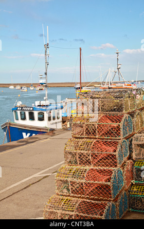 Fishing Boat, Port, lobster cages, fishing, sea, - Stock Photo