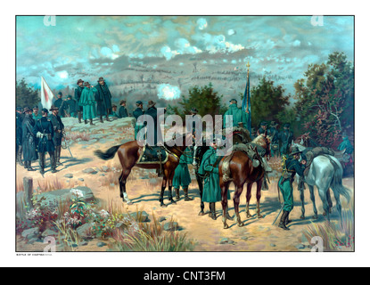 Vintage Civil War poster of the Battle of Missionary Ridge which took place during the Chattanooga Campaign. - Stock Photo