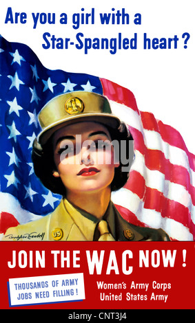 Vintage World War II poster of a member of The Women's Army Corps standing before the American flag. - Stock Photo