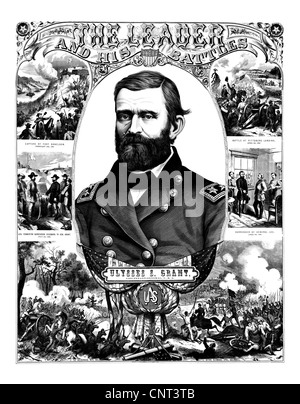 Vintage Civil War poster of General Ulysses S. Grant wearing his military uniform. Stock Photo