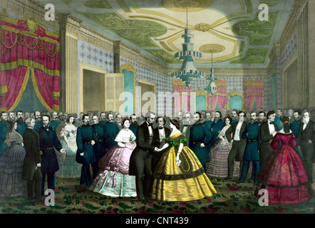 Vintage Civil War era print of President Abraham Lincoln and Mary Todd Lincoln during their last reception at the - Stock Photo