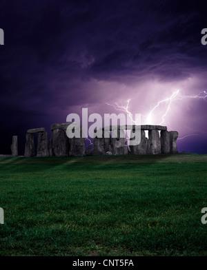 England, Stonehenge and lightning on the Salisbury plain - Stock Photo