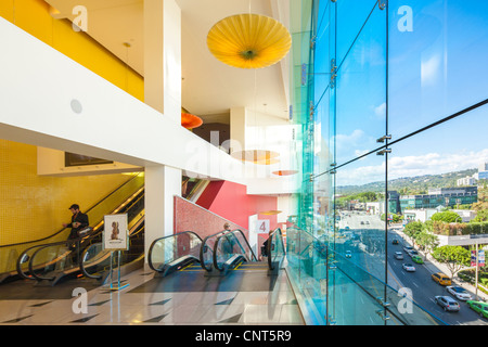 Beverly Hills Center Centre shopping mall Los Angeles. View from the escalators towards the corner of Beverly & - Stock Photo