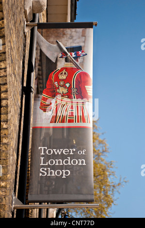 Colourful Sign outside the Tower of London Gift Shop - Stock Photo