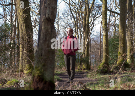 A woman stops to take in the view while walking the West Highland Way on the shore of Loch Lomond in Scotland - Stock Photo