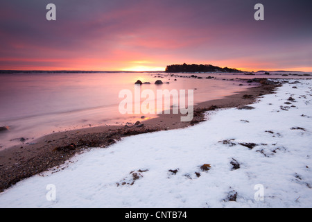 Winter sunrise at Larkollen in Rygge, Østfold fylke, Norway. - Stock Photo