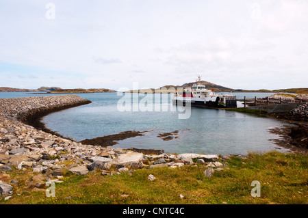 The Caledonian MacBrayne ferry, MV Loch Alainn, at the Àird Mhòr slipway on the island of Barra in the Outer Hebrides. - Stock Photo
